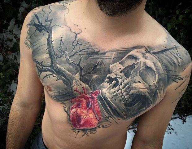 czaszka na klatce piersiowej dla mężczyzny