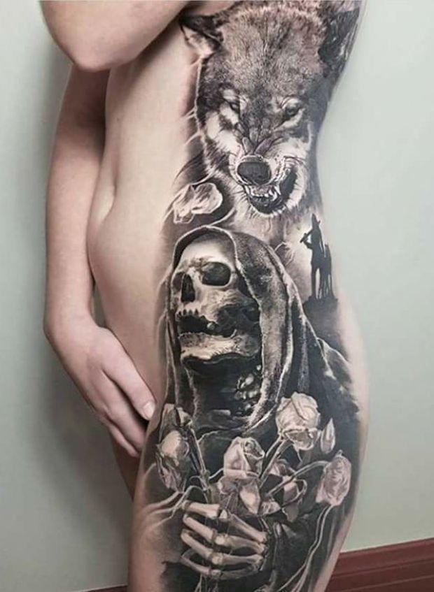 śmierć z różami i wilk | tatuaże dla kobiet